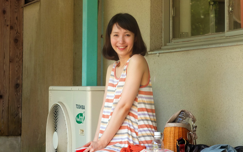 休憩中の花澄さん。